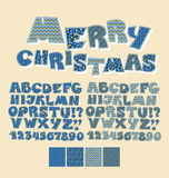 Christmas patchwork style abc font. Stock Images