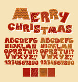 Christmas patchwork style abc font. Stock Photography