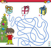Christmas path maze activity. Cartoon Illustration of Educational Paths or Maze Puzzle Activity with Kid Boy and Christmas Presents Royalty Free Stock Image