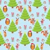 Christmas patr n on a blue background, hare, fox, hedgehog, deer. Vector illustration Royalty Free Stock Images