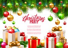 Christmas patry poster background design, decorative colorful balls. Gift boxes, fir tree branches, vector illustration stock illustration