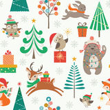 Christmas  patter with cute animals Royalty Free Stock Image