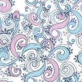 Christmas pattern. Christmas seamless  background with swirl and snowflakes Royalty Free Stock Photo