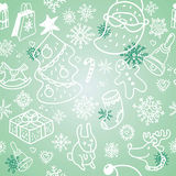 Christmas pattern. Christmas doodles seamless vector pattern Royalty Free Stock Photo