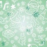 Christmas pattern. Christmas doodles seamless vector pattern Stock Illustration
