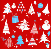 Christmas pattern. On the red background Stock Photos