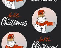 Christmas Pattern, adorable santa, snowmen, bear, owl, bird, reindeer Stock Photo