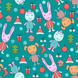 Christmas pattern with animals Stock Photos