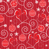 Christmas pattern with balls and presents Stock Images