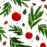 Christmas pattern with berry, ball, bump. And fir branch on the white background Stock Photo