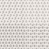 Christmas pattern black color on white background with candy, tree, ball, mitten royalty free illustration