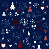 Christmas Pattern in Blue Color with Seasonal Decorative Elements. Vector Illustration. Modern Christmas Pattern with Seasonal Decorative Elements, Icons & Signs Stock Photography