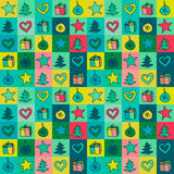 Christmas pattern colored with drawings decorations, gifts, spruce. Christmas pattern for the decoration of the tree with colored drawings, decorations, gifts vector illustration