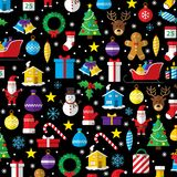 Christmas Pattern Composed Of New Year Icons And Symbols. Royalty Free Stock Photos