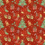 Christmas pattern with confetti Stock Photos