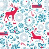 Christmas Pattern Lots of Icon Vector Illustration. Christmas pattern that consist of lots of icon, candy and wreath with pine and berries, deers and presents Royalty Free Stock Photography