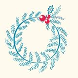 Christmas Pattern Wreath Berry Vector Illustration. Christmas pattern consisting of wreath made up of long branch of pine and red berries with leaves, vector Stock Images