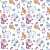 Christmas pattern with cute animals and Santa. Christmas seamless pattern with Santa Claus, snowman and cute animals. Childhood vector background in ethnic style vector illustration