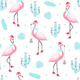 Christmas pattern with cute flamingo on skates. royalty free illustration