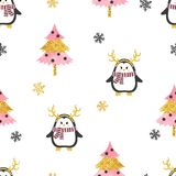 Christmas pattern with cute penguins and christmas trees. Vector holiday seamless background Royalty Free Stock Photos