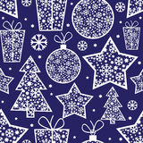 Christmas pattern with decorative elements Stock Images