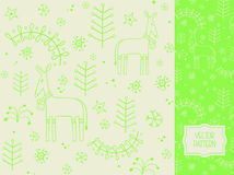 Christmas pattern with deer, Christmas tree and snowflakes stock illustration