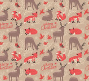 Christmas pattern with deer and foxes. Christmas seamless pattern with deer and foxes royalty free illustration