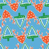 Christmas pattern with deer head and fir tree. For fabric Royalty Free Stock Images