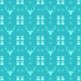Christmas pattern with deer, snowflake and present. Vector seamless Christmas pattern with deer, snowflake and present on turquoise background stock illustration