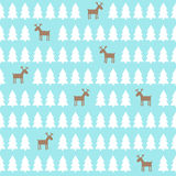 Christmas pattern - deer, xmas trees. Happy New Year background. Stock Images