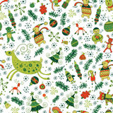 Christmas pattern with deers and trees. Winter forest with snowflakes. Seamless pattern for holidays Royalty Free Stock Image