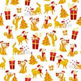 Christmas pattern with dogs and gifts. New Year 2018 seamless pattern with yellow dog symbol of Chinese New Year vector. Stock illustration, flat design vector illustration