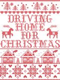 Christmas pattern Driving home for Christmas carol seamless pattern inspired by Nordic culture festive winter in stitched. Christmas pattern Driving home for stock illustration