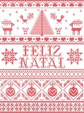 Christmas pattern Feliz Natal seamless pattern inspired by Nordic culture festive winter in cross stitch with heart, snow Stock Illustration