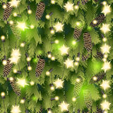 Christmas pattern with fir branches and garland Royalty Free Stock Image
