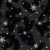 Christmas pattern with fir paws and snowflakes Royalty Free Stock Images