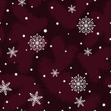 Christmas pattern with fir paws and snowflakes Stock Photos