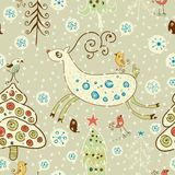 Christmas pattern. Forest and deer Stock Photo