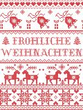 Christmas pattern Frohliche weihnachten seamless pattern inspired by Nordic culture festive winter in cross stitch Vector Illustration