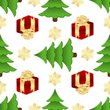 Christmas pattern with gifts and spruces Stock Photos