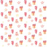 Christmas pattern with gifts and stars on a white background. vector illustration