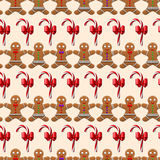 Christmas pattern with ginger man seamless Stock Photography