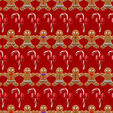 Christmas pattern with ginger man seamless Royalty Free Stock Photos