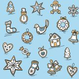 Christmas pattern of Gingerbreads Stock Photo