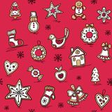 Christmas pattern of Gingerbreads. Vector illustration for your website or packaging design and fabric Royalty Free Stock Image