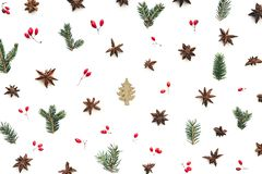 Christmas Pattern With Gold Colored Christmas Tree And Natural O stock photo