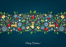 Christmas pattern with golden, red, green, white tree. Decoration. Happy New Year blue background. Gold Xmas deer and snowflakes.Colorful ornament. Vector stock illustration