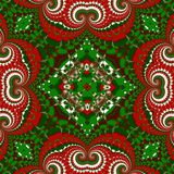 Christmas pattern. Green, red and white colors. stock photos