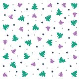 Merry Christmas background: wallpaper with trees and stars. Christmas pattern: green and violet trees, blue and silver stars on white background. Vector Image Stock Image