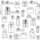 Christmas pattern with hand drawn gift boxes Royalty Free Stock Photos